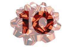 Die Nr. 10 symbolisch dargestellt als hervorgehobene Zahl vor einer Geschenkschleife stockfotos