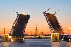 Die offene Palast-Brücke auf Neva-Fluss in St Petersburg während der weißen Nächte Stockfotografie