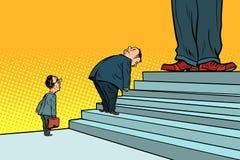 Die offizielle Hierarchie, die Chefdoppelzüngigkeit und die Hypokrisie Stockfoto