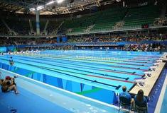 Die olympische Aquatics-Mitte in Rio Olympic Park während Rios 2016 Olympische Spiele Lizenzfreie Stockfotos