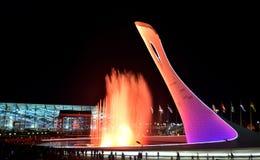 Die olympische Flamme der Schale Stockfoto