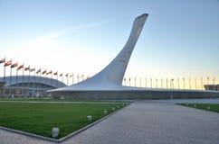 Die olympische Flamme der Schale Stockfotos