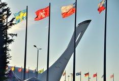 Die olympische Flamme der Schale Lizenzfreie Stockfotos