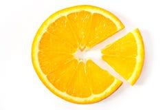 Die orange Scheibe mit dem Ausschnittstück Stockbild