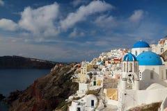 Die orthodoxe Kirche in Santorini Lizenzfreies Stockbild