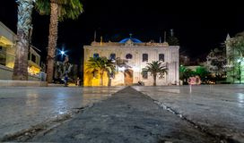 Die Osmane Vezir-Moschee, die wurde heutzutage die Basilika von St. Titus in den Abendlichtern, Iraklio, Kreta Lizenzfreie Stockfotografie