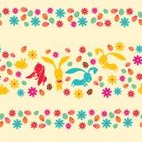 Die Ostereier, die Blumen und die Kaninchen Stockfotografie