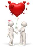 die Paare 3d, die ein Rotherz freigeben, steigen Valentinsgrußtag im Ballon auf Lizenzfreies Stockbild