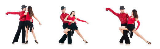 Die Paare von den Tänzern lokalisiert auf dem Weiß Lizenzfreies Stockfoto