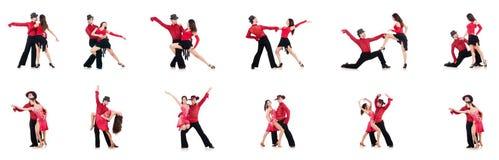 Die Paare von den Tänzern lokalisiert auf dem Weiß Stockfoto