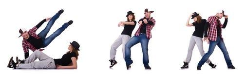Die Paare von den Tänzern, die moderne Tänze tanzen Stockfotos