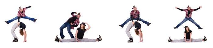 Die Paare von den Tänzern, die moderne Tänze tanzen Stockbild
