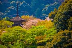 Die Pagode an buddhistischem Tempel Kiyomizu-Dera Stockbilder
