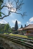 Die Pagoden innerhalb Pura Taman Ayuns in Bali, Indonesien lizenzfreie stockfotos