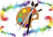 Die Palette mit Farben und Bürsten Stockfotos