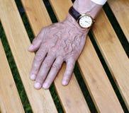 Die Palmen von geknitterten Händen eines älteren Mannes Stockfotos