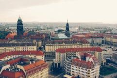 Die panaroma Ansicht alter Stadt Dresdens in Deutschland Europa Stockfotos