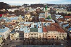 Die panoramische Ansicht der Stadt Lviv Lizenzfreie Stockfotos
