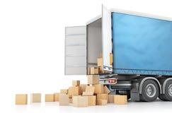 Die Pappschachteln fallen heraus vom Transport lokalisiert auf einem weißen Hintergrund Abbildung 3D Stockbilder