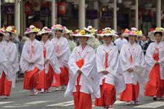 Die Parade der Damen von Gions-Festival, Kyoto Japan lizenzfreies stockfoto