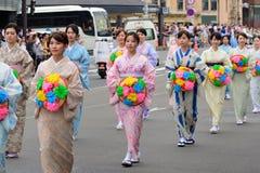 Die Parade der Damen von Gions-Festival, Kyoto Japan lizenzfreie stockbilder
