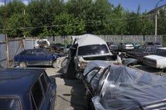 Die Parkgeldstrafe eines Autos nach einem Unfall Lizenzfreies Stockfoto