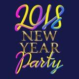 Die Partei entwerfen des neuen Jahr-2018, die golden sind und die flüssigen Farben, die für Plakat beschriften Stockbild