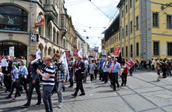 Die Partei Political Protesters Erfurt, Germany. Political protest in the streets of Erfurt, Germany stock photo