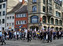 Die Partei Political Protesters Erfurt, Germany. Political protest in the streets of Erfurt, Germany royalty free stock images