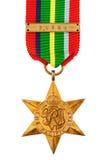 Die pazifische Weltkrieg-Medaille des Stern-zweite mit Birma-Verschluss Stockfotografie