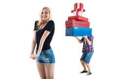 Die perfekten Paare, die datieren fertig sind dort, mit dem Einkaufen Stockfoto