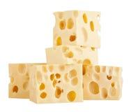 Die perfekten Stücke des Schweizer Käses lokalisiert auf weißem Hintergrund Stockbilder