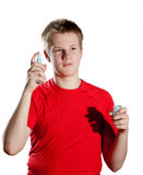 Die Person in der roten Kleidung auf einem weißen Hintergrund Lizenzfreies Stockbild