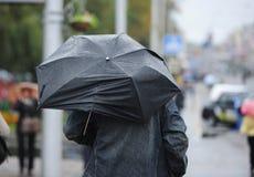 Die Person unter einem Regenschirm Stockbilder