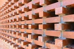 Die Perspektivenszene der Wand des roten Backsteins Lizenzfreie Stockbilder