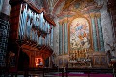 Die Pfeifenorgel der Kirche von Santa Maria-degli Angeli Stockbilder