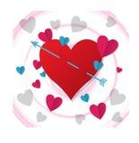 Die Pfeile, die im Herzen fest sind, Illustrationen verliebten sich vektor abbildung