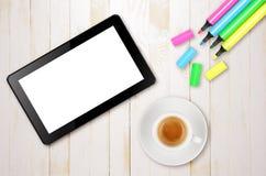 Die Pfeile sind auf unterschiedlicher Schicht, also können Sie sie löschen Sie wenn nur Notwendigkeit die Tablette Stockfoto
