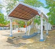 Die Pferdestatue im buddhistischen Tempel stockfotografie