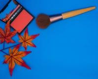 Die pfirsichfarbene Draufsicht erröten an, Bürste und Ahornblätter, Niederlassung auf blauem Hintergrund und Kopienraum Lizenzfreies Stockbild