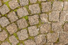 Die Pflasterung des Granitsteins Gepflasterte Fahrbahnstraße irgendwelche pflasterten a Stockfotografie
