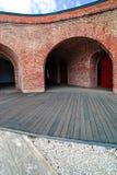 Die Pflasterung schreibt Hintergrundschnitt der Bastion Maria Theres Stockfotografie