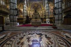 Die Pflasterung von Siena-Kathedrale, Siena, Italien Stockbild