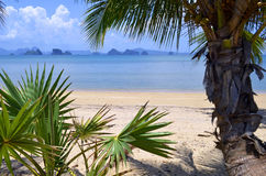 Die Phangnga-Bucht von einem Strand auf Yao Noi Island stockfotos