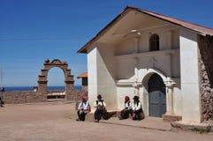 Die Piazza von Taquile Insel auf dem Titicaca See Lizenzfreies Stockfoto