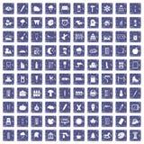 100 die pictogrammen geplaatst grunge saffier trekken Stock Afbeeldingen