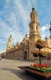 Die Pilar Kathedrale in Zaragoza stockbilder