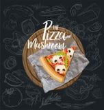 Die Pilz-Pizzascheibe mit Hintergrund Entwerfer Evgeniy Kotelevskiy lizenzfreie abbildung