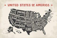 Die Plakatkarte Vereinigten Staaten von Amerika mit Zustandsnamen Lizenzfreies Stockfoto