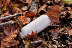 Die Plastik- und Glasflaschen, die weggeworfen wurden und verließen in der Natur, Stapel des Abfalls Ökologisch, Ökologie, Indust lizenzfreie stockfotos